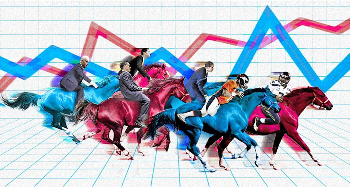 horse riding politicians and football players with two line graph as background